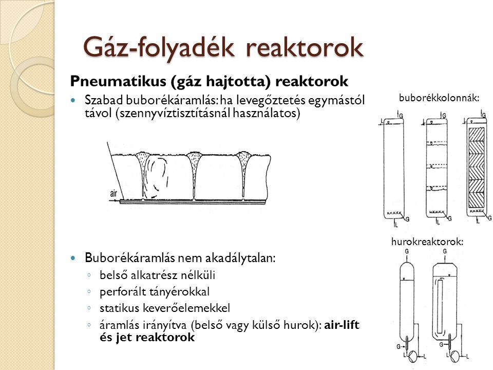 Gáz-folyadék reaktorok Pneumatikus (gáz hajtotta) reaktorok Szabad buborékáramlás: ha levegőztetés egymástól távol (szennyvíztisztításnál használatos) Buborékáramlás nem akadálytalan: ◦ belső alkatrész nélküli ◦ perforált tányérokkal ◦ statikus keverőelemekkel ◦ áramlás irányítva (belső vagy külső hurok): air-lift és jet reaktorok buborékkolonnák: hurokreaktorok:
