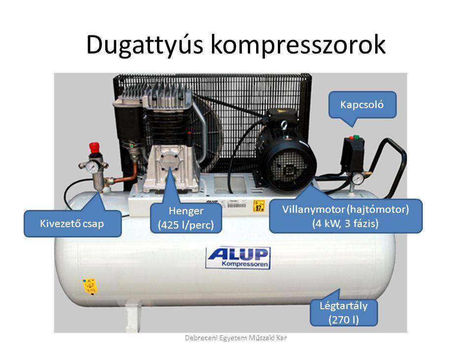Dugattyús kompresszorok Kivezető csap Légtartály (270 l) Kapcsoló Villanymotor (hajtómotor) (4 kW, 3 fázis) Henger (425 l/perc)