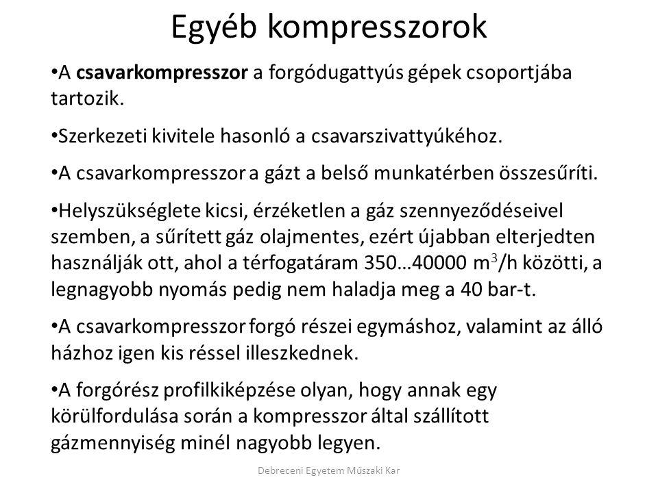 Debreceni Egyetem Műszaki Kar A csavarkompresszor a forgódugattyús gépek csoportjába tartozik.