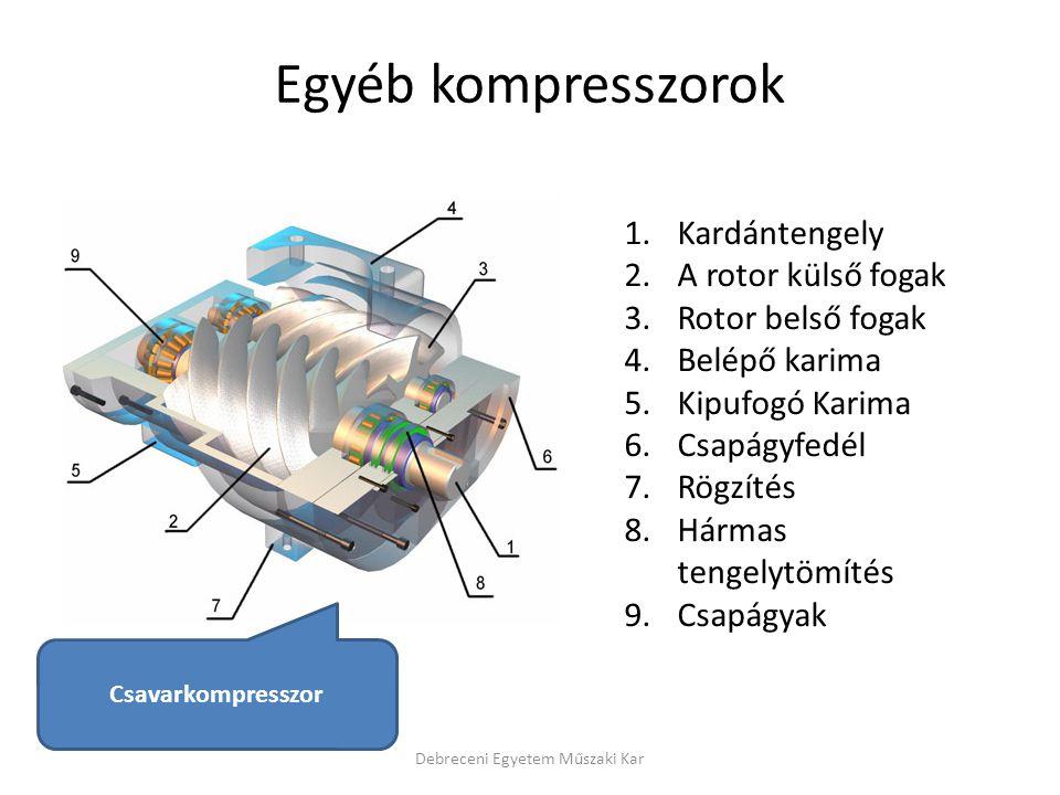 Debreceni Egyetem Műszaki Kar 1.Kardántengely 2.A rotor külső fogak 3.Rotor belső fogak 4.Belépő karima 5.Kipufogó Karima 6.Csapágyfedél 7.Rögzítés 8.Hármas tengelytömítés 9.Csapágyak Egyéb kompresszorok Csavarkompresszor
