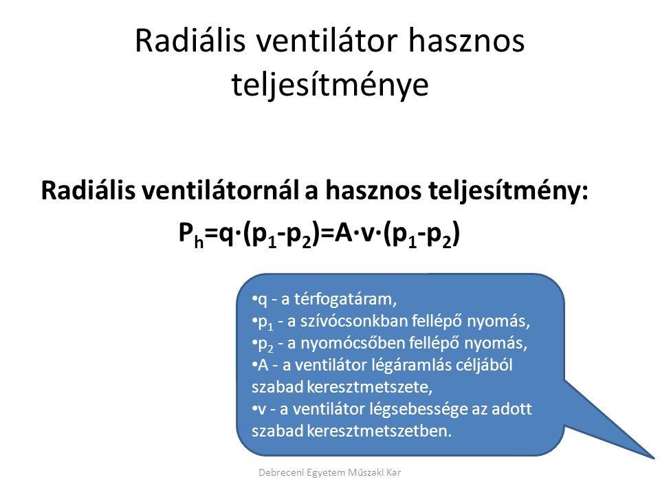 Radiális ventilátor hasznos teljesítménye Radiális ventilátornál a hasznos teljesítmény: P h =q·(p 1 -p 2 )=A·v·(p 1 -p 2 ) Debreceni Egyetem Műszaki Kar q - a térfogatáram, p 1 - a szívócsonkban fellépő nyomás, p 2 - a nyomócsőben fellépő nyomás, A - a ventilátor légáramlás céljából szabad keresztmetszete, v - a ventilátor légsebessége az adott szabad keresztmetszetben.