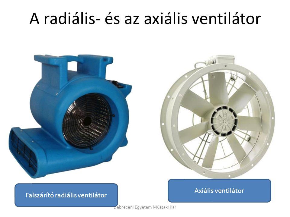Debreceni Egyetem Műszaki Kar Falszárító radiális ventilátor Axiális ventilátor A radiális- és az axiális ventilátor