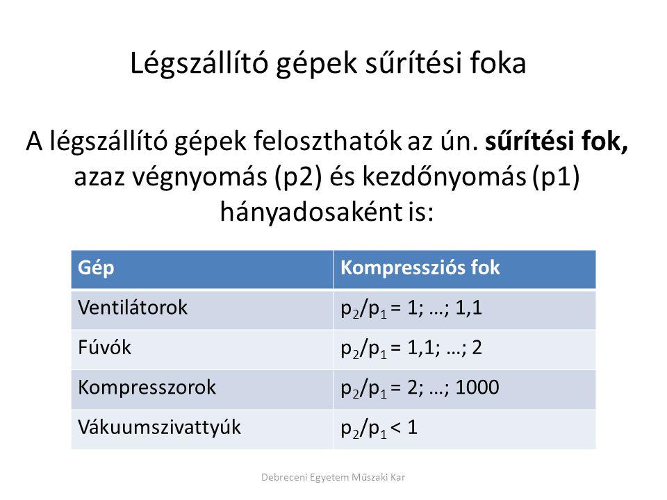 Kompresszorok Debreceni Egyetem Műszaki Kar