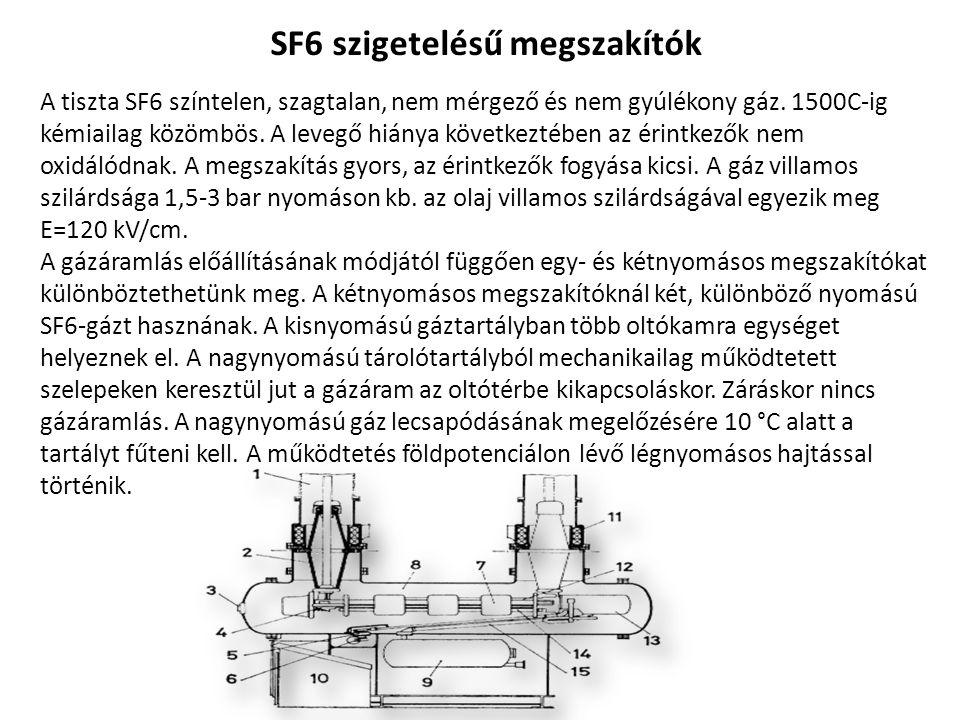 SF6 szigetelésű megszakítók A tiszta SF6 színtelen, szagtalan, nem mérgező és nem gyúlékony gáz. 1500C-ig kémiailag közömbös. A levegő hiánya következ