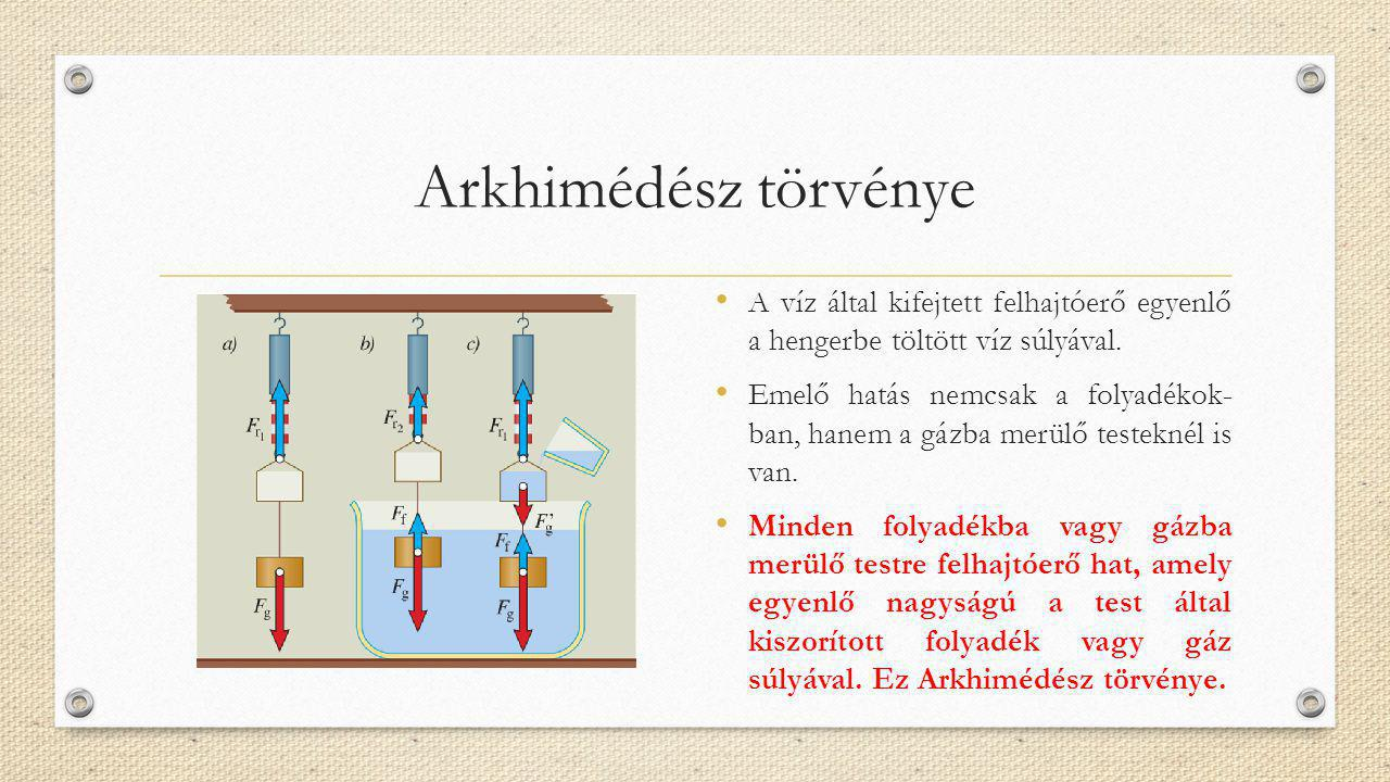 Arkhimédész törvénye A víz által kifejtett felhajtóerő egyenlő a hengerbe töltött víz súlyával. Emelő hatás nemcsak a folyadékok- ban, hanem a gázba m