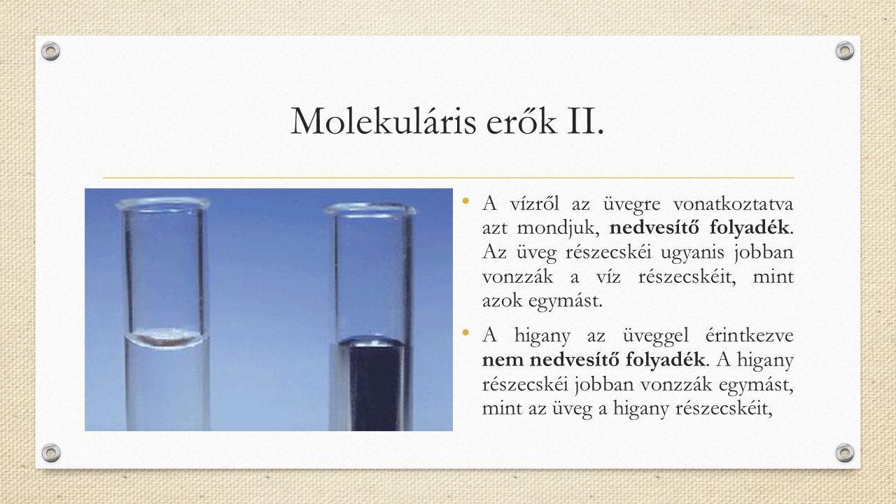 Molekuláris erők II. A vízről az üvegre vonatkoztatva azt mondjuk, nedvesítő folyadék. Az üveg részecskéi ugyanis jobban vonzzák a víz részecskéit, mi