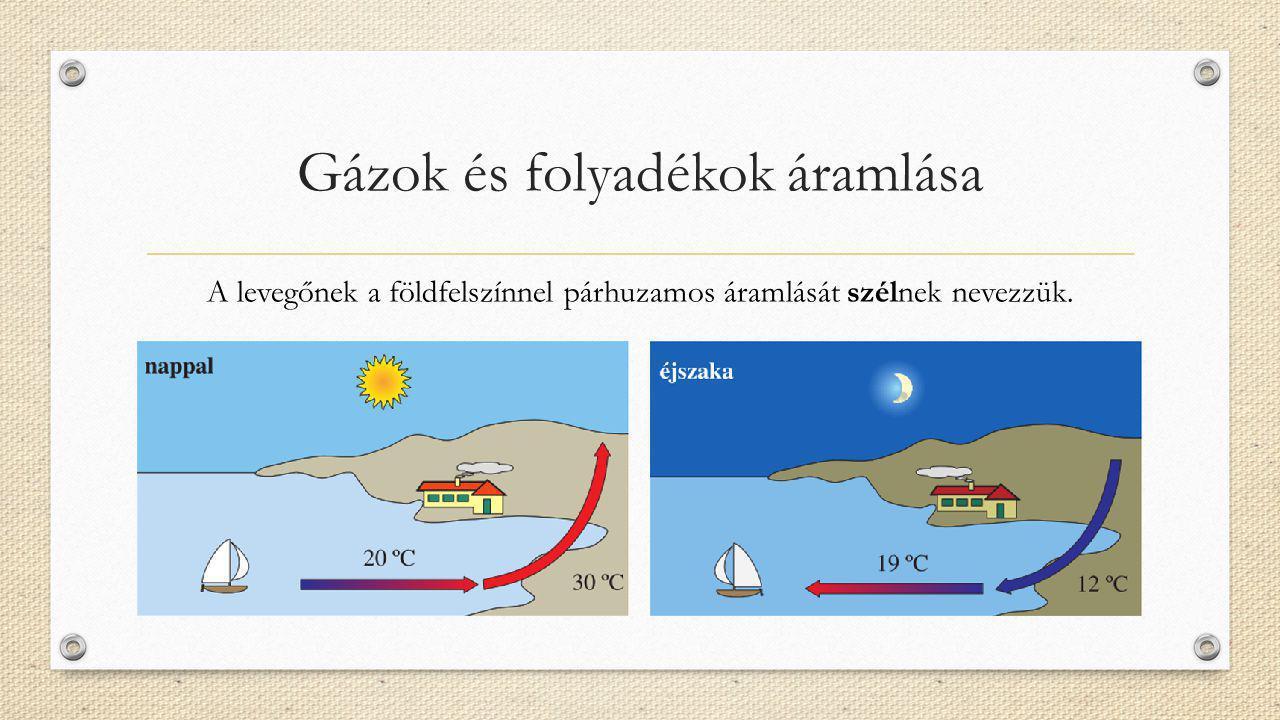 Gázok és folyadékok áramlása A levegőnek a földfelszínnel párhuzamos áramlását szélnek nevezzük.