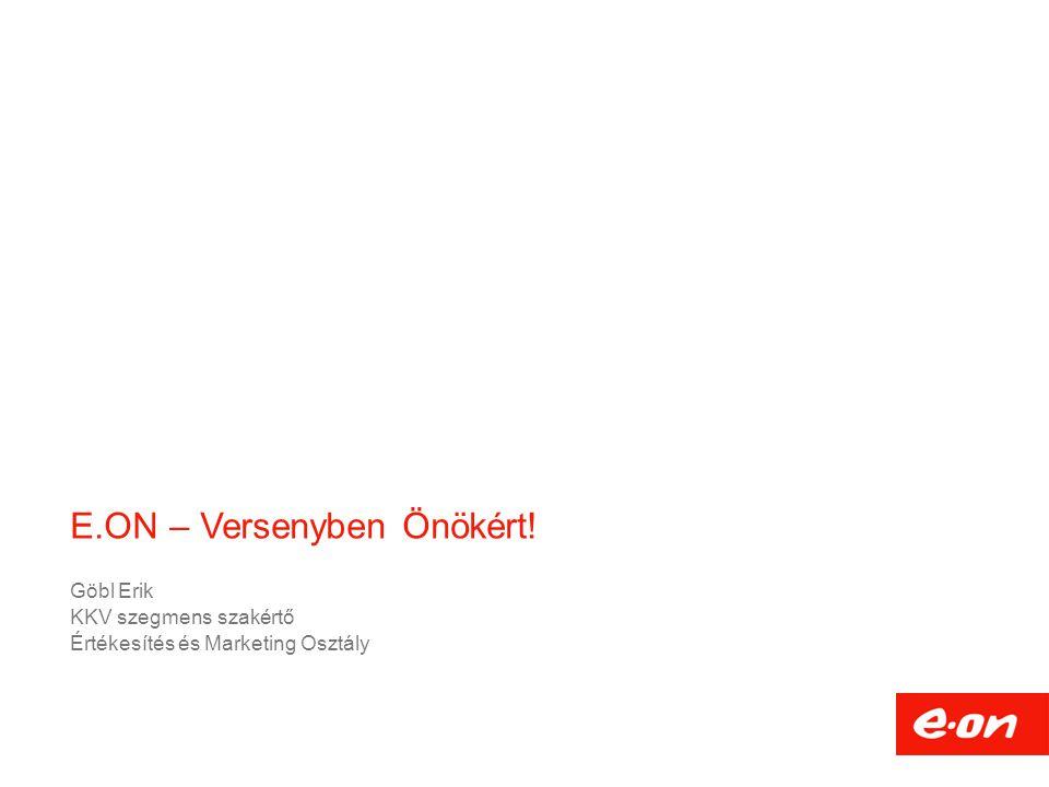 E.ON – Versenyben Önökért! Göbl Erik KKV szegmens szakértő Értékesítés és Marketing Osztály
