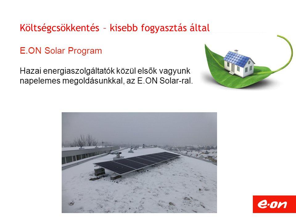 Költségcsökkentés – kisebb fogyasztás által E.ON Solar Program Hazai energiaszolgáltatók közül elsők vagyunk napelemes megoldásunkkal, az E.ON Solar-r