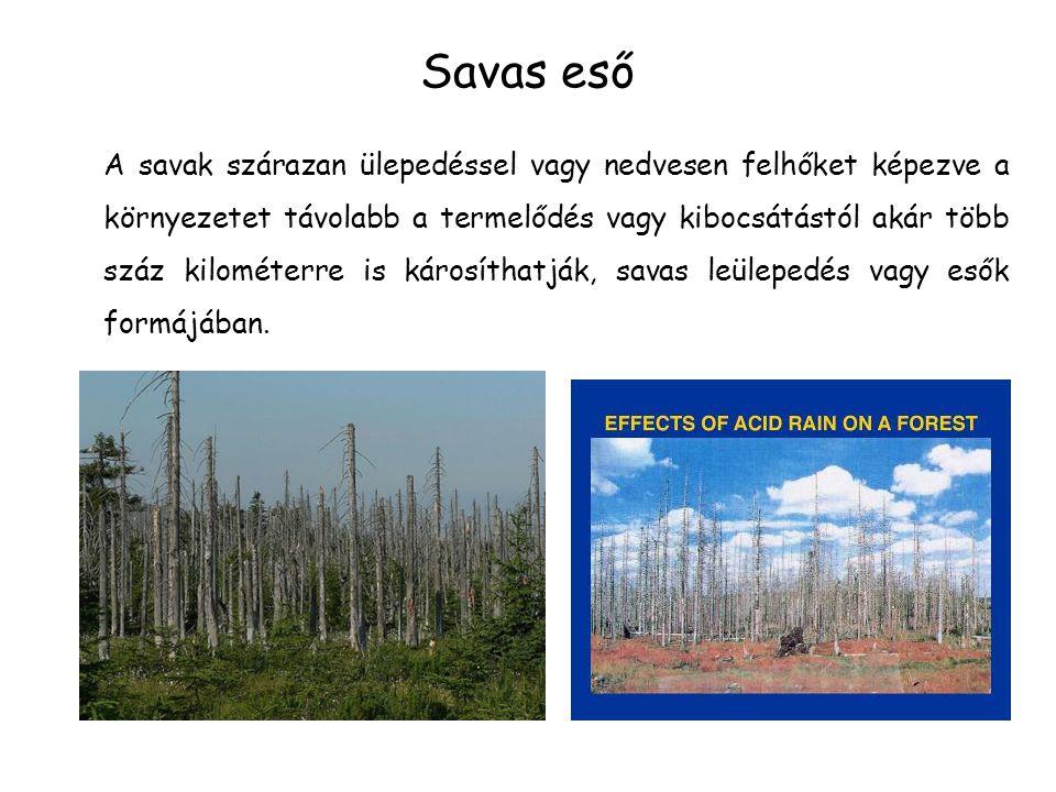 Savas eső A savak szárazan ülepedéssel vagy nedvesen felhőket képezve a környezetet távolabb a termelődés vagy kibocsátástól akár több száz kilométerre is károsíthatják, savas leülepedés vagy esők formájában.