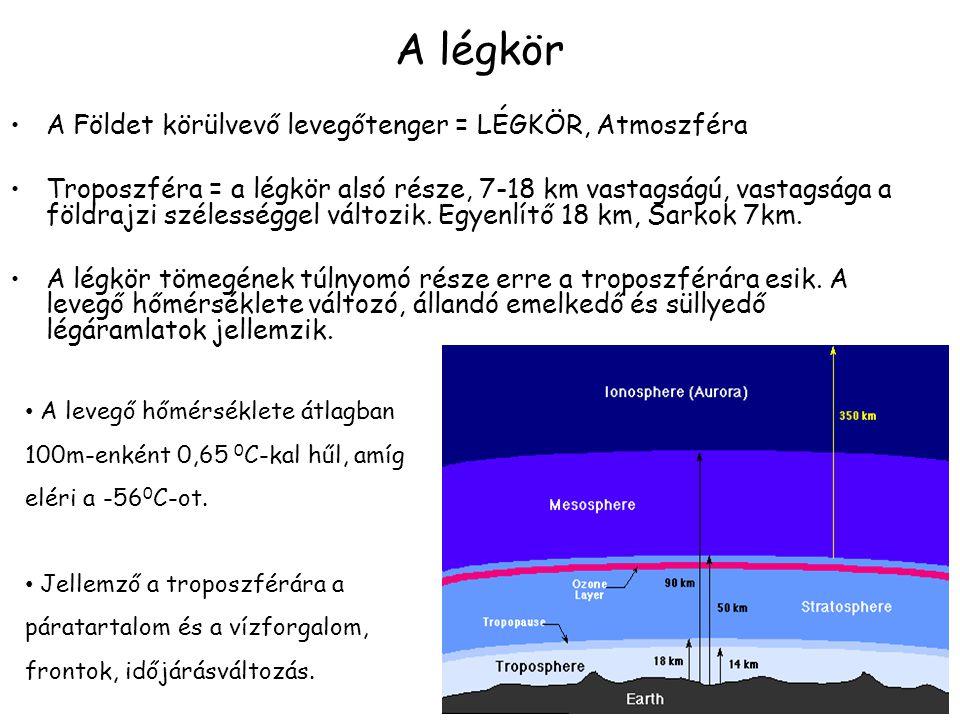 A légkör A Földet körülvevő levegőtenger = LÉGKÖR, Atmoszféra Troposzféra = a légkör alsó része, 7-18 km vastagságú, vastagsága a földrajzi szélességg