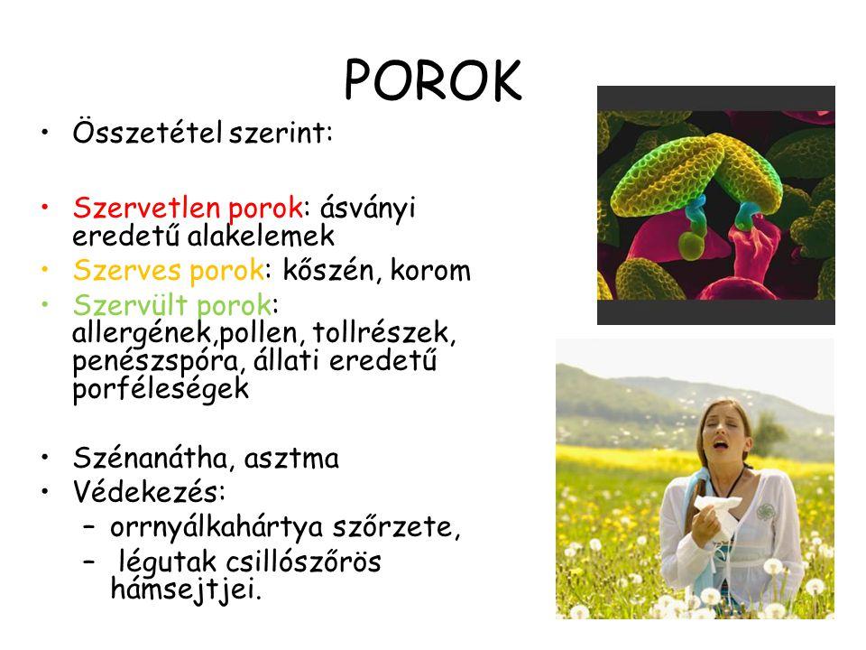 POROK Összetétel szerint: Szervetlen porok: ásványi eredetű alakelemek Szerves porok: kőszén, korom Szervült porok: allergének,pollen, tollrészek, pen