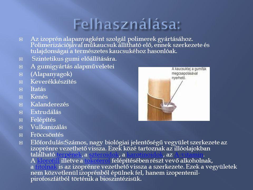  Az izoprén alapanyagként szolgál polimerek gyártásához. Polimerizációjával műkaucsuk állítható elő, ennek szerkezete és tulajdonságai a természetes