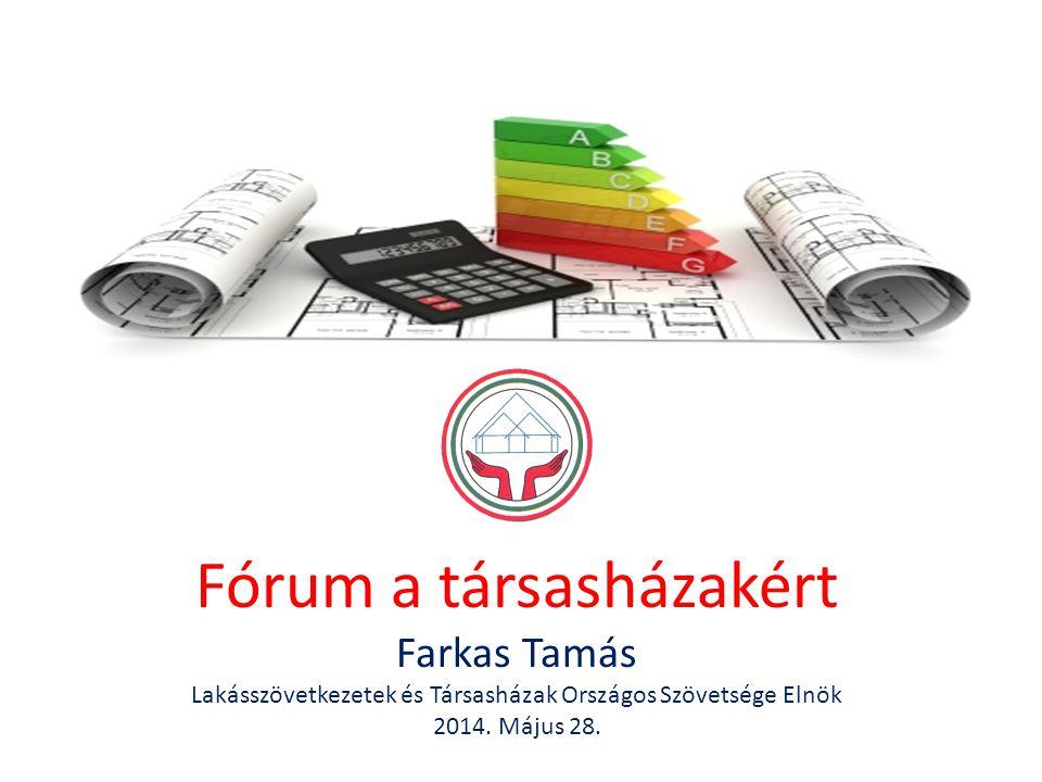 Fórum a társasházakért Farkas Tamás Lakásszövetkezetek és Társasházak Országos Szövetsége Elnök 2014. Május 28.
