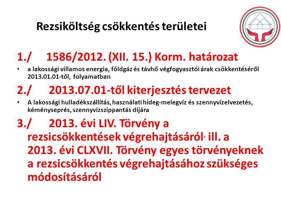 Rezsiköltség csökkentés területei 1./ 1586/2012. (XII. 15.) Korm. határozat a lakossági villamos energia, földgáz és távhő végfogyasztói árak csökkent