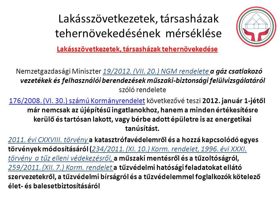 Lakásszövetkezetek, társasházak tehernövekedésének mérséklése Lakásszövetkezetek, társasházak tehernövekedése Nemzetgazdasági Miniszter 19/2012. (VII.