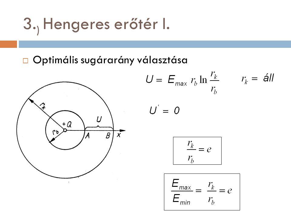 3. ) Hengeres erőtér I.  Optimális sugárarány választása