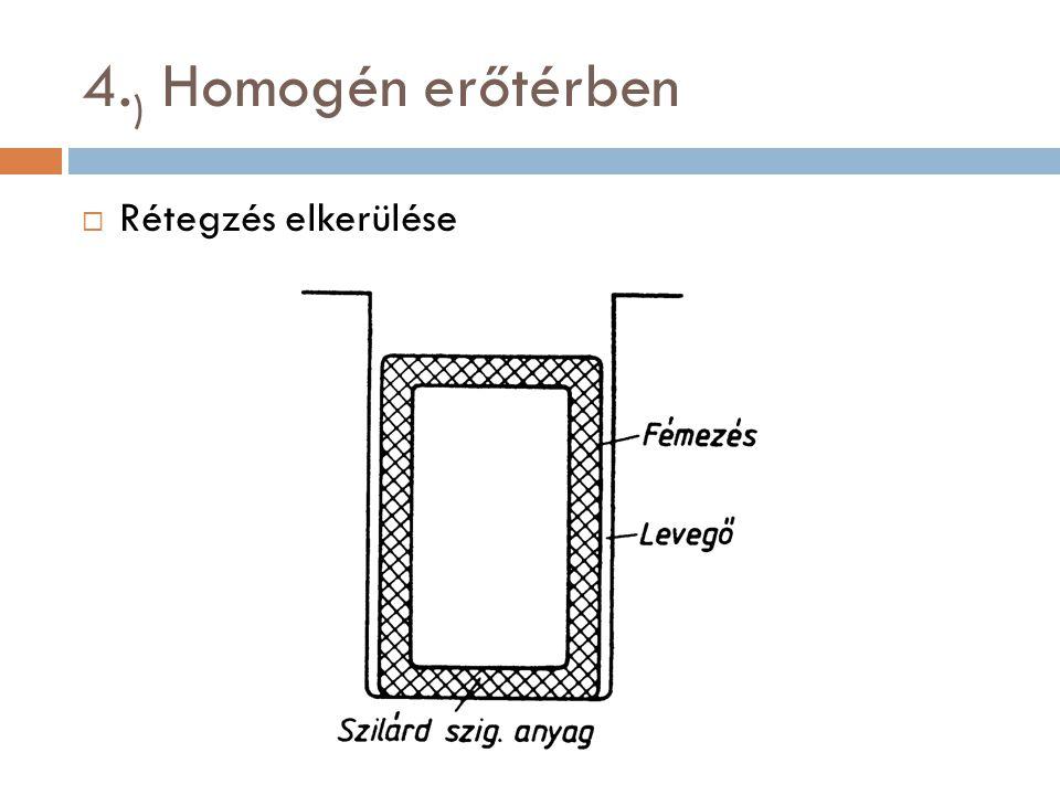4. ) Homogén erőtérben  Rétegzés elkerülése
