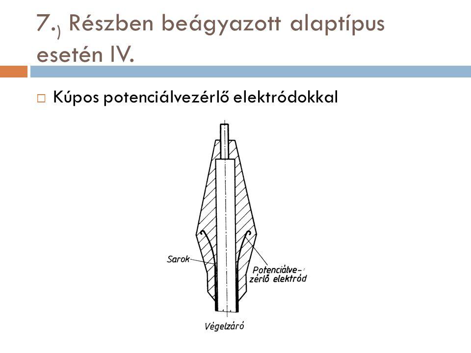 7. ) Részben beágyazott alaptípus esetén IV.  Kúpos potenciálvezérlő elektródokkal