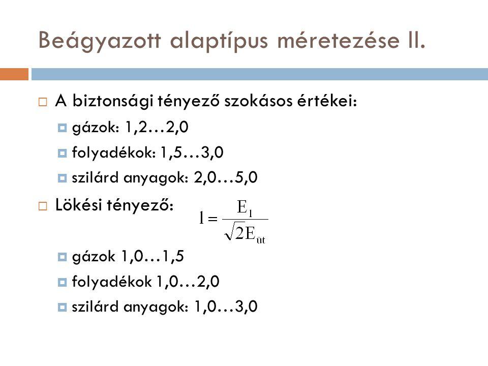 Beágyazott alaptípus méretezése II.