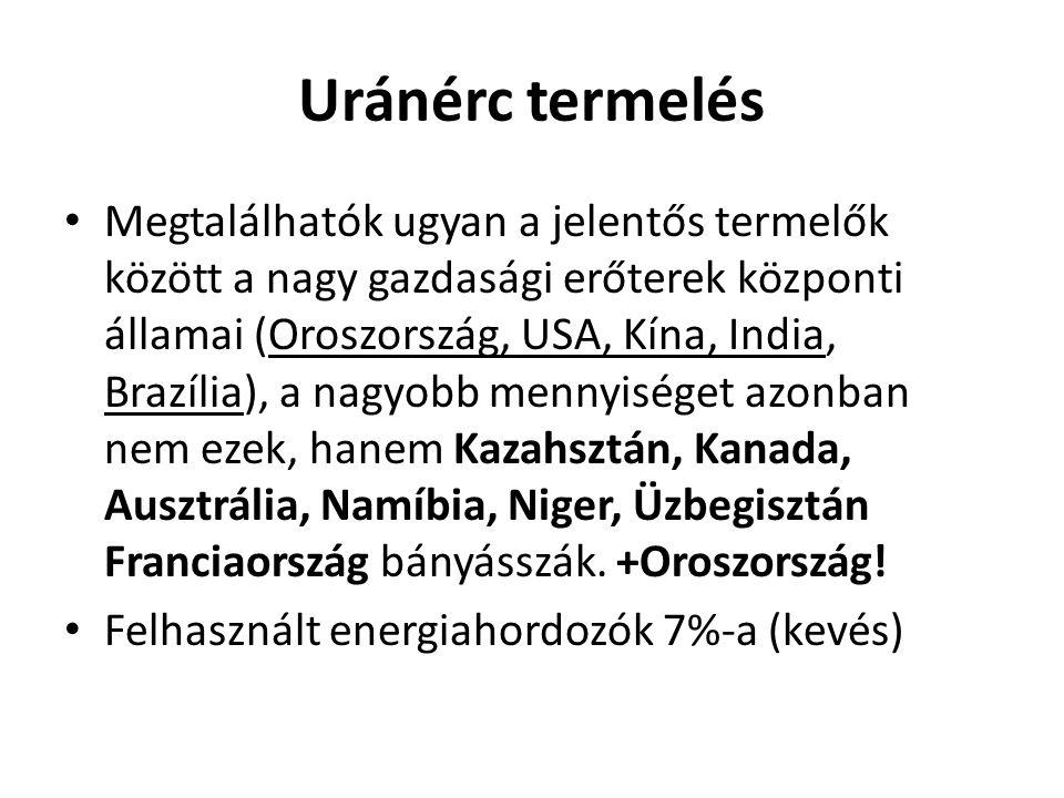 Uránérc termelés Megtalálhatók ugyan a jelentős termelők között a nagy gazdasági erőterek központi államai (Oroszország, USA, Kína, India, Brazília),