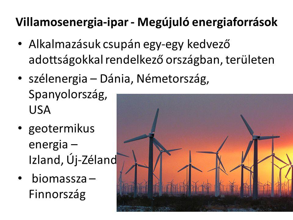 Villamosenergia-ipar - Megújuló energiaforrások Alkalmazásuk csupán egy-egy kedvező adottságokkal rendelkező országban, területen szélenergia – Dánia,
