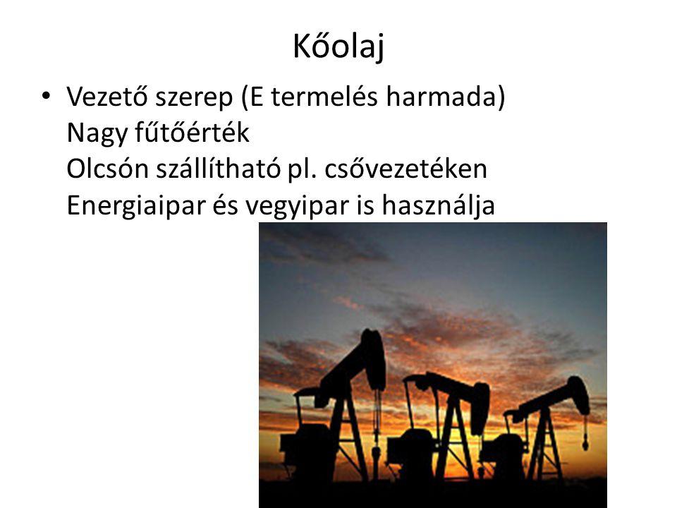 Kőolaj Vezető szerep (E termelés harmada) Nagy fűtőérték Olcsón szállítható pl. csővezetéken Energiaipar és vegyipar is használja