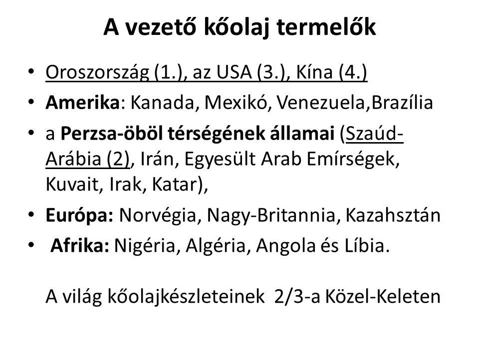 A vezető kőolaj termelők Oroszország (1.), az USA (3.), Kína (4.) Amerika: Kanada, Mexikó, Venezuela,Brazília a Perzsa-öböl térségének államai (Szaúd-