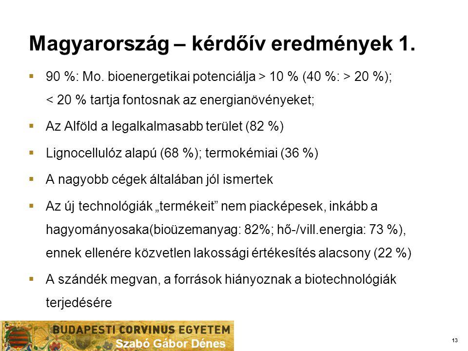 Magyarország – kérdőív eredmények 1. Szabó Gábor Dénes  90 %: Mo.