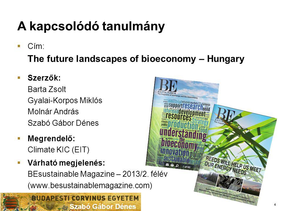 A kapcsolódó tanulmány Szabó Gábor Dénes  Cím: The future landscapes of bioeconomy – Hungary  Szerzők: Barta Zsolt Gyalai-Korpos Miklós Molnár András Szabó Gábor Dénes  Megrendelő: Climate KIC (EIT)  Várható megjelenés: BEsustainable Magazine – 2013/2.