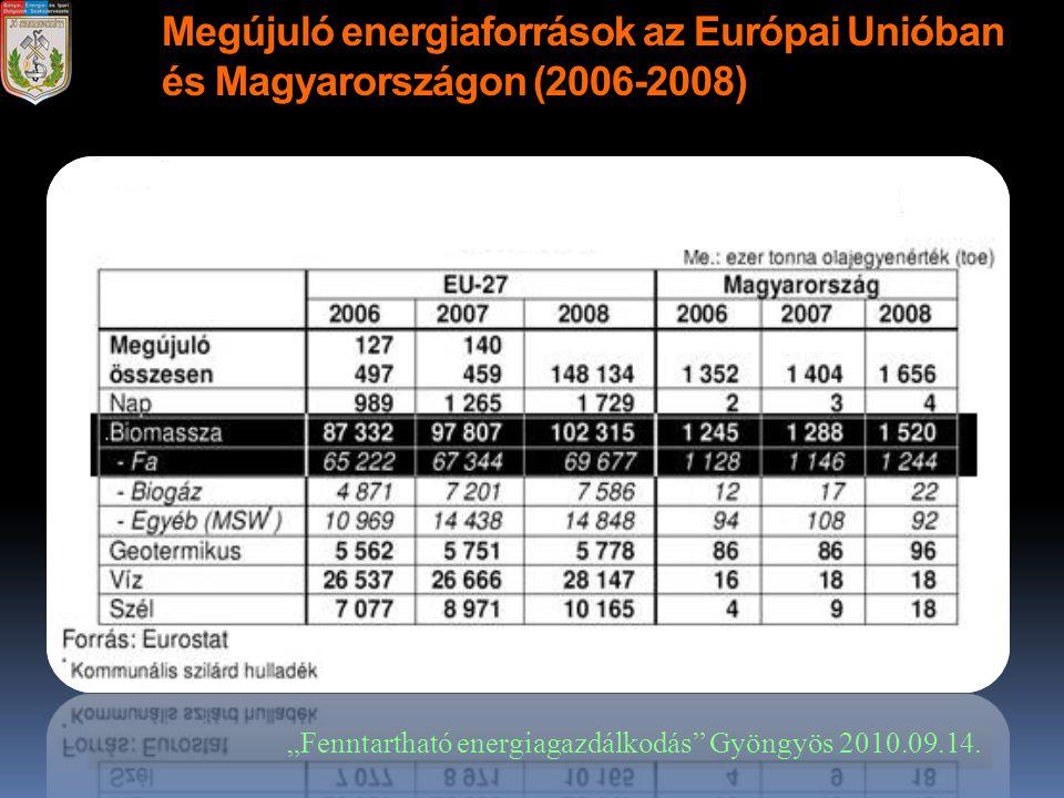 """Megújuló energiaforrások az Európai Unióban és Magyarországon (2006-2008) """"Fenntartható energiagazdálkodás"""" Gyöngyös 2010.09.14."""