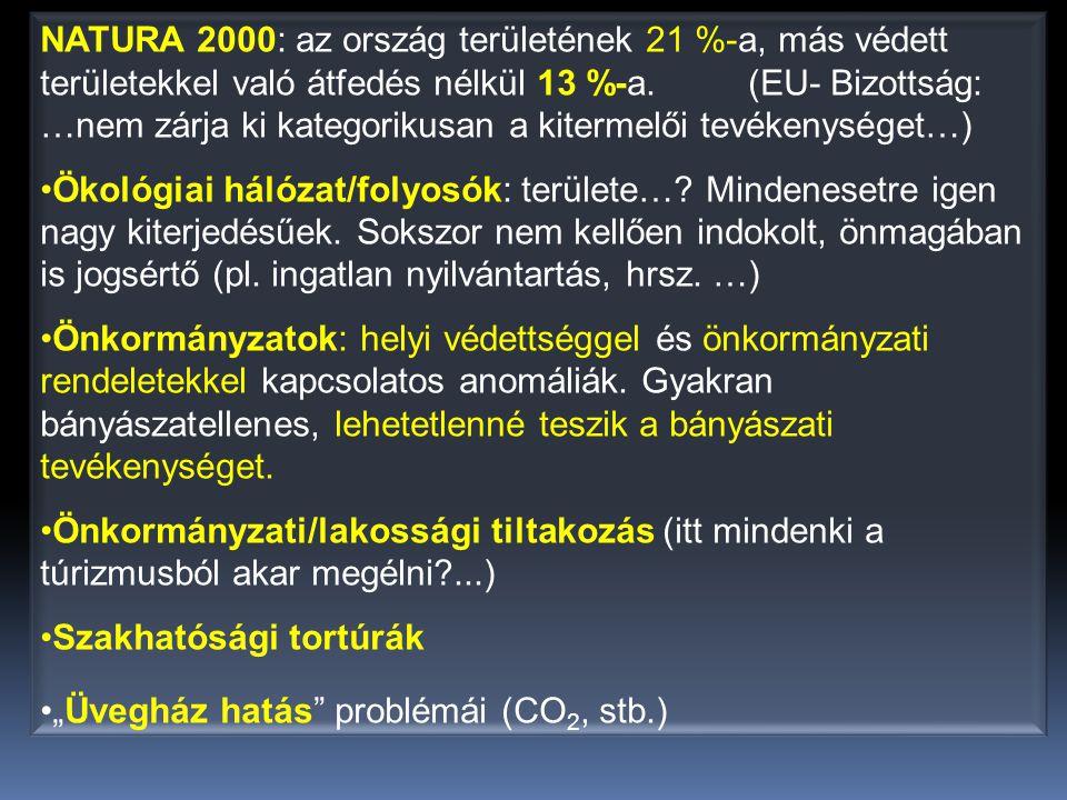 NATURA 2000: az ország területének 21 %-a, más védett területekkel való átfedés nélkül 13 %-a. (EU- Bizottság: …nem zárja ki kategorikusan a kitermelő