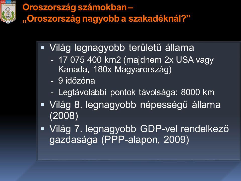 """Oroszország számokban – """"Oroszország nagyobb a szakadéknál?""""  Világ legnagyobb területű állama -17 075 400 km2 (majdnem 2x USA vagy Kanada, 180x Magy"""