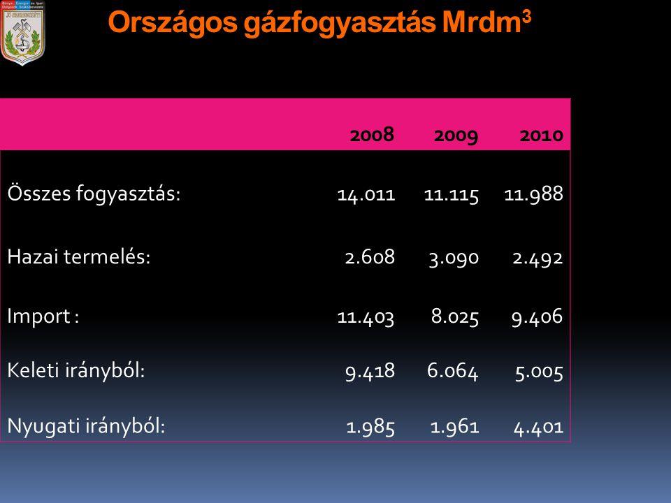 Országos gázfogyasztás Mrdm 3 200820092010 Összes fogyasztás:14.01111.11511.988 Hazai termelés:2.6083.0902.492 Import :11.4038.0259.406 Keleti iránybó