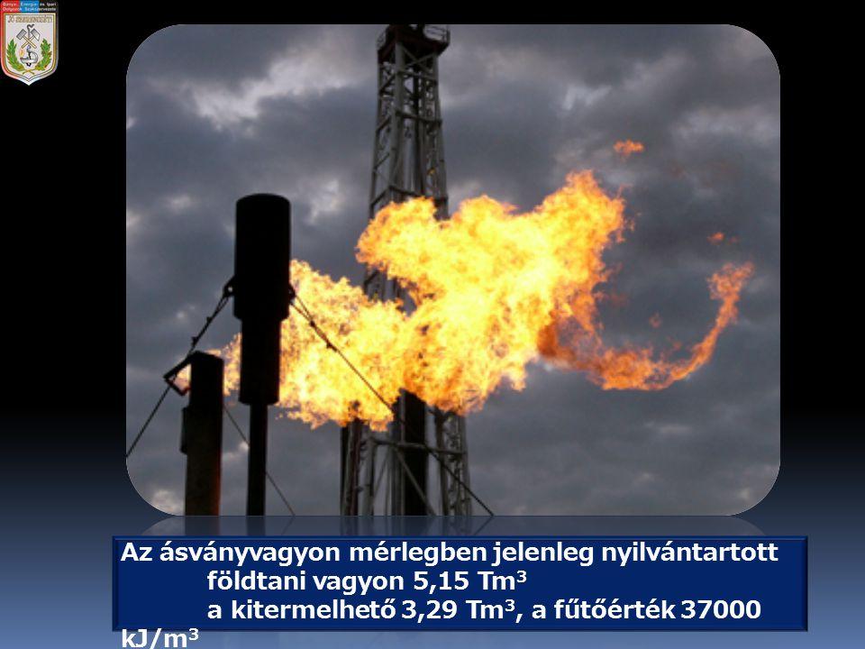 Az ásványvagyon mérlegben jelenleg nyilvántartott földtani vagyon 5,15 Tm 3 a kitermelhető 3,29 Tm 3, a fűtőérték 37000 kJ/m 3