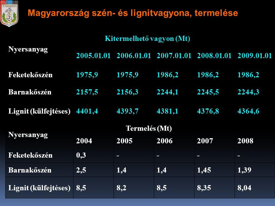 Magyarország szén- és lignitvagyona, termelése Nyersanyag Kitermelhető vagyon (Mt) 2005.01.012006.01.012007.01.012008.01.012009.01.01 Feketekőszén1975