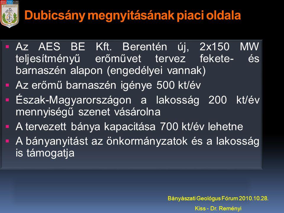 Dubicsány megnyitásának piaci oldala  Az AES BE Kft. Berentén új, 2x150 MW teljesítményű erőművet tervez fekete- és barnaszén alapon (engedélyei vann