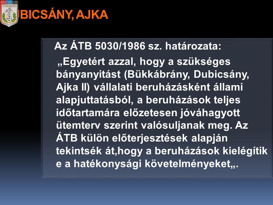 """DUBICSÁNY, AJKA Az ÁTB 5030/1986 sz. határozata: """"Egyetért azzal, hogy a szükséges bányanyitást (Bükkábrány, Dubicsány, Ajka II) vállalati beruházáské"""