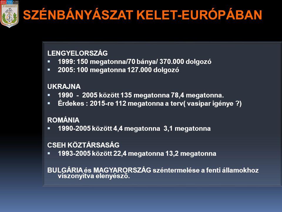LENGYELORSZÁG  1999: 150 megatonna/70 bánya/ 370.000 dolgozó  2005: 100 megatonna 127.000 dolgozó UKRAJNA  1990 - 2005 között 135 megatonna 78,4 me