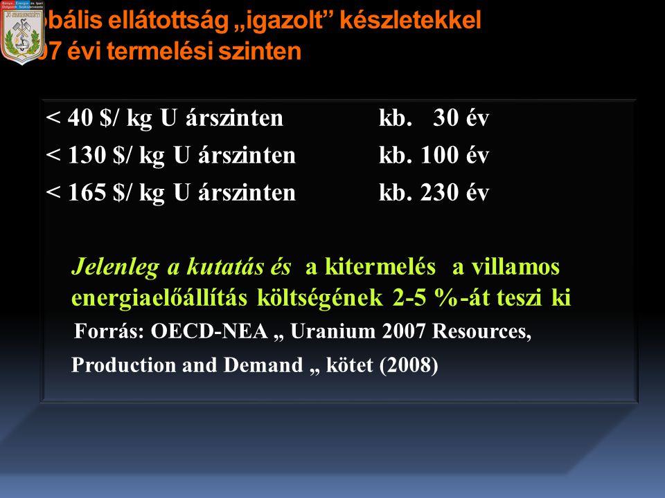 """Globális ellátottság """"igazolt"""" készletekkel 2007 évi termelési szinten < 40 $/ kg U árszintenkb. 30 év < 130 $/ kg U árszinten kb. 100 év < 165 $/ kg"""