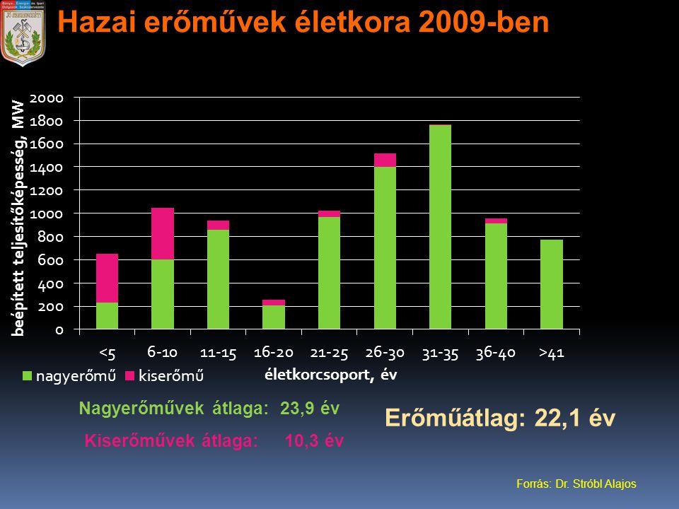 Hazai erőművek életkora 2009-ben Nagyerőművek átlaga: 23,9 év Kiserőművek átlaga: 10,3 év Erőműátlag: 22,1 év Forrás: Dr. Stróbl Alajos