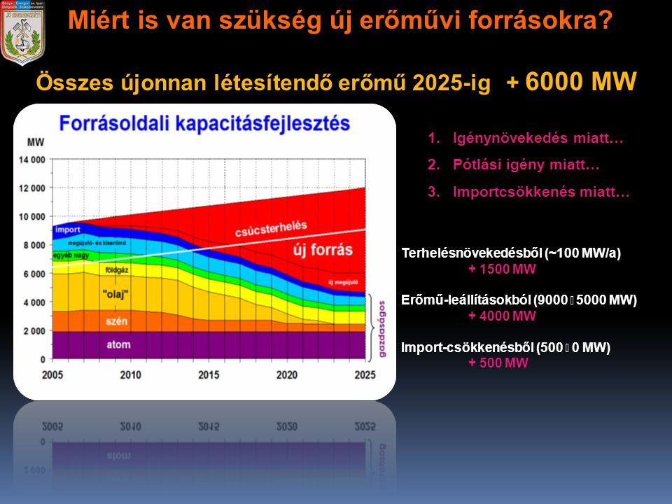 Miért is van szükség új erőművi forrásokra? Összes újonnan létesítendő erőmű 2025-ig + 6000 MW Terhelésnövekedésből (~100 MW/a) + 1500 MW Erőmű-leállí