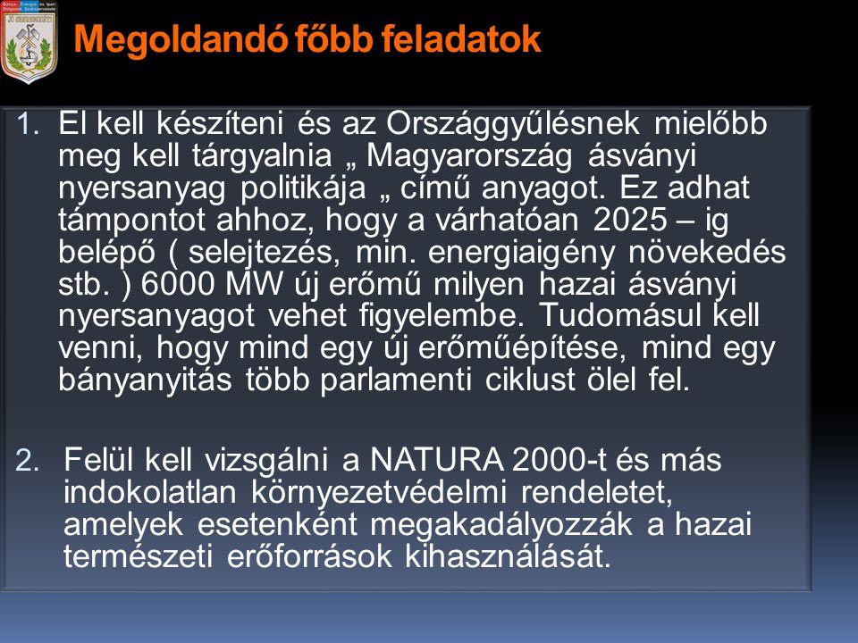 """Megoldandó főbb feladatok 1. El kell készíteni és az Országgyűlésnek mielőbb meg kell tárgyalnia """" Magyarország ásványi nyersanyag politikája """" című a"""