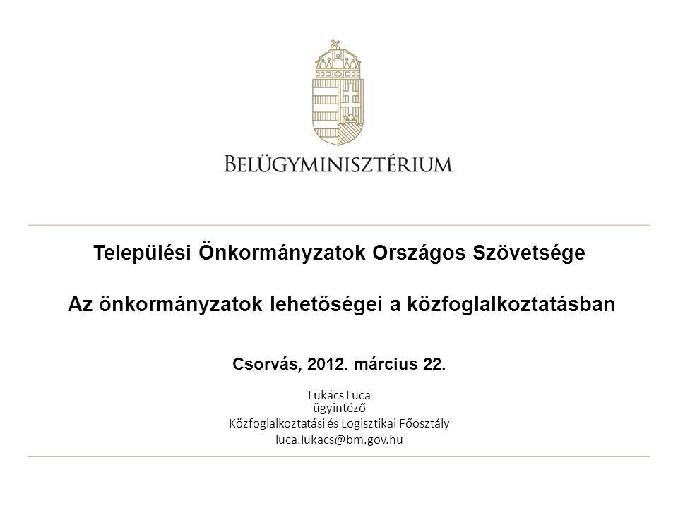 Települési Önkormányzatok Országos Szövetsége Az önkormányzatok lehetőségei a közfoglalkoztatásban Csorvás, 2012. március 22. Lukács Luca ügyintéző Kö