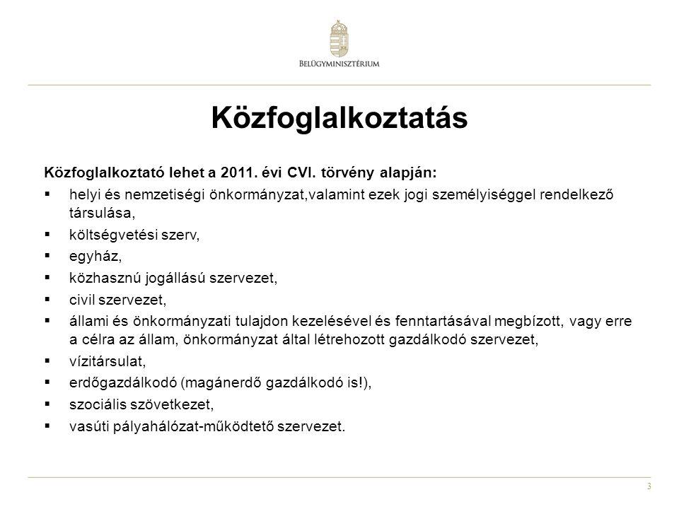 3 Közfoglalkoztatás Közfoglalkoztató lehet a 2011. évi CVI. törvény alapján:  helyi és nemzetiségi önkormányzat,valamint ezek jogi személyiséggel ren