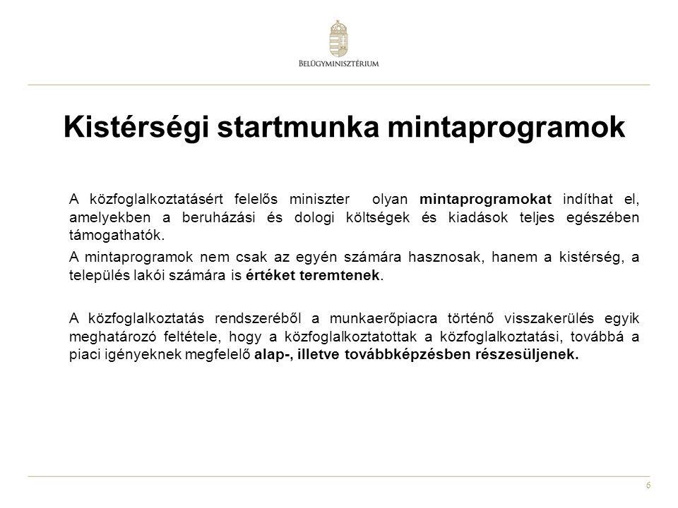 6 Kistérségi startmunka mintaprogramok A közfoglalkoztatásért felelős miniszter olyan mintaprogramokat indíthat el, amelyekben a beruházási és dologi
