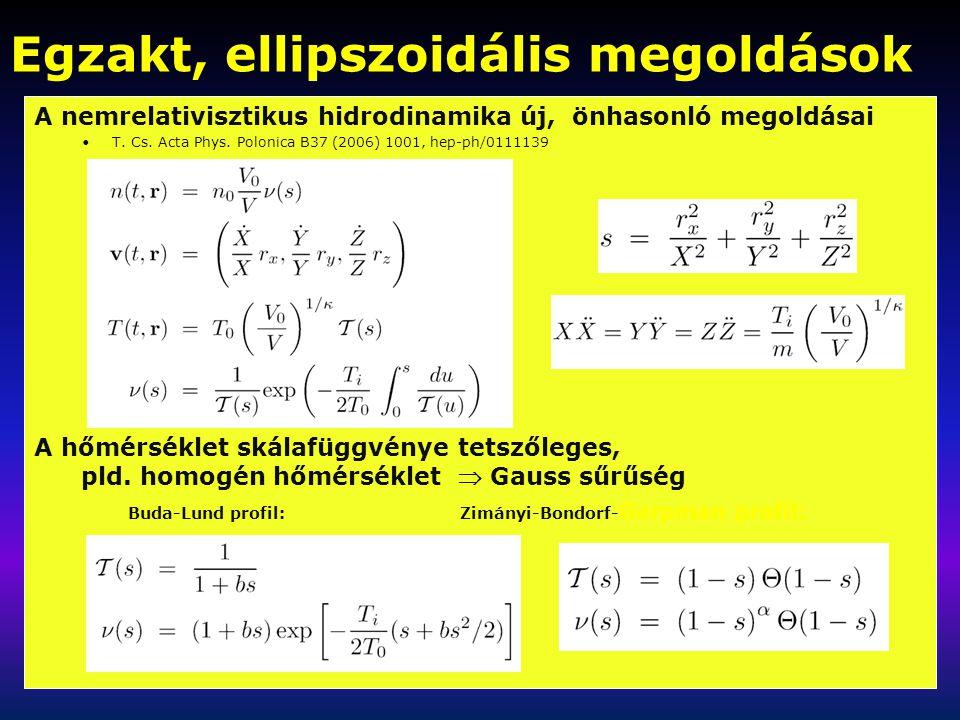 Egzakt, ellipszoidális megoldások A nemrelativisztikus hidrodinamika új, önhasonló megoldásai T.
