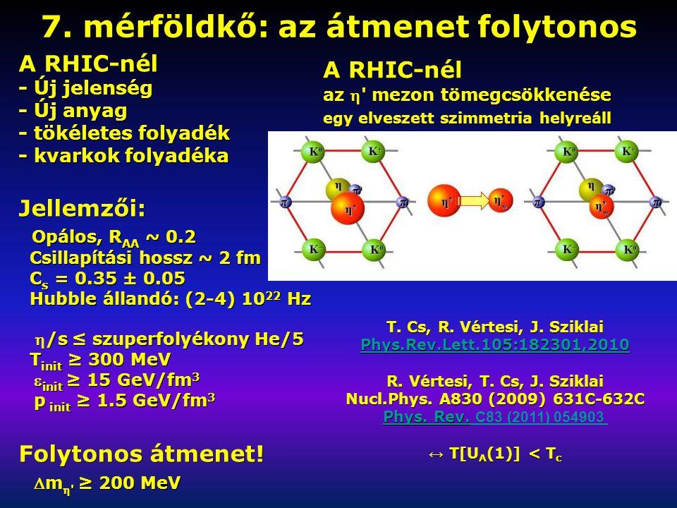 7. mérföldkő: az átmenet folytonos A RHIC-nél - Új jelenség - Új anyag - tökéletes folyadék - kvarkok folyadéka Jellemzői: Opálos, R AA ~ 0.2 Opálos,