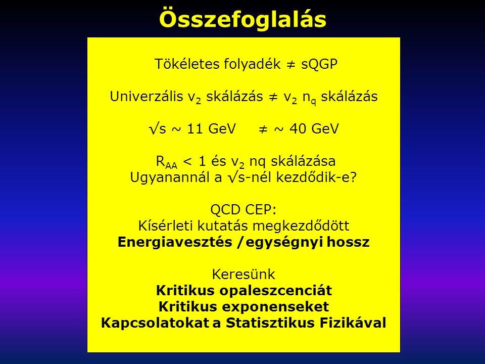 Összefoglalás Tökéletes folyadék ≠ sQGP Univerzális v 2 skálázás ≠ v 2 n q skálázás √s ~ 11 GeV ≠ ~ 40 GeV R AA < 1 és v 2 nq skálázása Ugyanannál a √s-nél kezdődik-e.