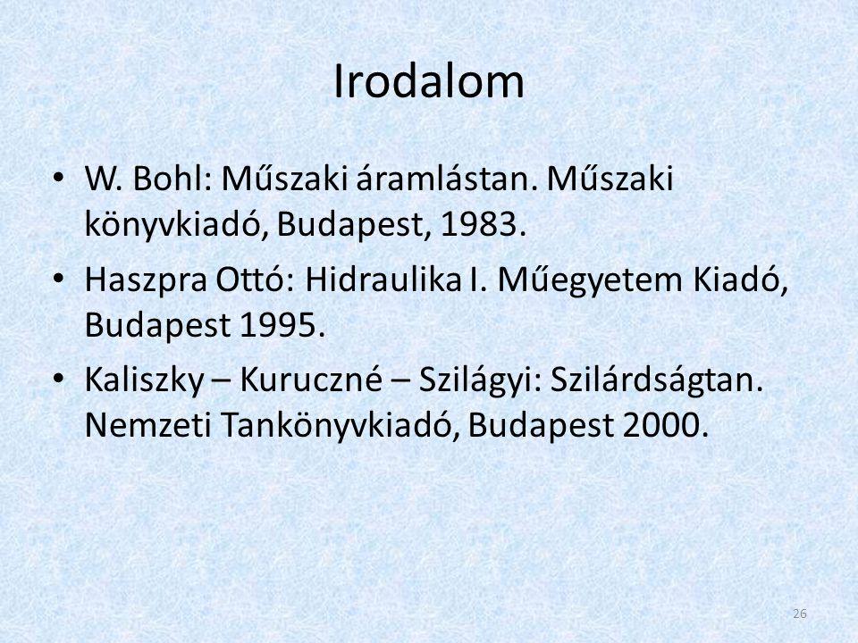 Irodalom W. Bohl: Műszaki áramlástan. Műszaki könyvkiadó, Budapest, 1983. Haszpra Ottó: Hidraulika I. Műegyetem Kiadó, Budapest 1995. Kaliszky – Kuruc